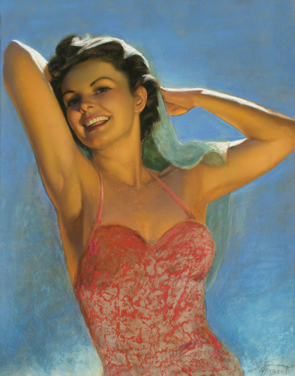 Mozert-Zoe-Woman-in-Red-Swimshirt-29-dot-5-x-23-dot-5-Pastel-c-1955.jpg